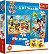"""Пес Патрул - 3 в 1 - Комплект от 2 пъзела и мемо игра от серията """"Paw Patrol"""" - игра"""