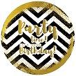Табелка-картичка кръг със златисти мотиви: Party time! It's your birthday - картичка