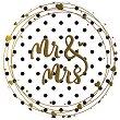 Табелка-картичка кръг със златисти мотиви: Mr & Mrs - картичка