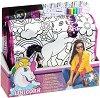 Чанта за оцветяване с пайети - Еднорог - Комплект с текстилни маркери за оцветяване -