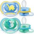 Силиконови залъгалки с ортодонтична форма - Ultra Air - Комплект от 2 броя с кутия за съхранение за бебета над 18 месеца -