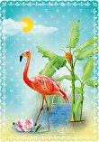Поздравителна картичка - Фламинго  -