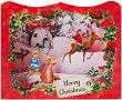 Поздравителна 3D картичка - Merry Christmas -