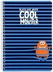 Ученическа тетрадка със спирала - Cool Monster : Формат А5 с широки редове - 1, 5 или 10 броя - тетрадка