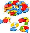 Геометрични плочки - Детски дървен образователен комплект -