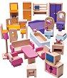 Мебели за куклена къща - Дървен комплект за игра -