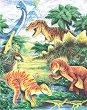 Рисуване по номера с цветни моливи - Динозаври
