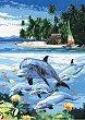 Рисуване по номера с акрилни бои - Делфини - Комплект за картина с размери 23 x 30 cm
