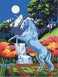 Рисуване по номера с акрилни бои - Еднорог - Комплект за картина с размери 23 x 30 cm -
