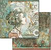 Хартия за скрапбукинг - Жена и часовникови механизми - Размери 30.5 x 30.5 cm -
