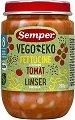 Semper - Био пюре от фетучини с домат и леща - Бурканче от 190 g за бебета над 8 месеца -