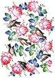 Декупажна хартия - Рози и птици - Формат A3 -