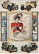 Декупажна хартия - Ретро автомобили - Формат А4 -