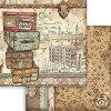 Хартия за скрапбукинг - Ретро куфари - Размери 30.5 x 30.5 cm