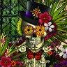Скелет скрит в цветята -