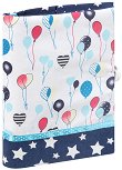 Ръчно изработена текстилна подвързия за книга - Празнични балони -