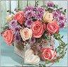 Салфетки за декупаж - Букет от рози и хризантеми - Пакет от 20 броя -