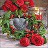 Салфетки за декупаж - Рози и бръшлян - Пакет от 20 броя -