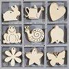 Дървени  фигурки - Животни и растения - Комплект от 45 броя в кутия -