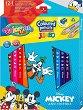 Цветни моливи Jumbo - Мики Маус - Комплект от 12 цвята и острилка -