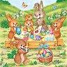 Салфетки за декупаж - Зайчета декорират яйца - Пакет от 20 броя -