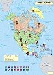 Стенна политическа карта на Северна Америка. Раси -