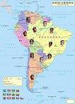 Стенна политическа карта на Южна Америка. Раси - М 1:7 500 000 -