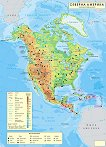 Стенна природногеографска карта на Северна Америка - карта