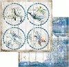Хартия за скрапбукинг - Морски кръгове - Размери 30.5 х 30.5 cm -