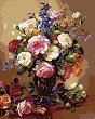 Рисуване по номера с акрилни бои - Цветя за нея - Комплект за картина с размери 40 x 50 cm -