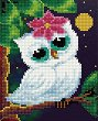 Бяла сова - Картина за декориране с камъчета с размери 17 x 21 cm -
