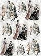 Декупажна хартия - Викториански дами - Формат A4 -