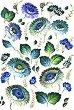 Декупажна хартия - Сини цветя - Формат A4 -