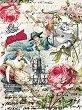 Декупажна хартия - Цветя и ръкописи - Формат A4 -