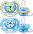 Залъгалки от силикон с ортодонтична форма - Ultra Air - Комплект от 2 броя с кутия за съхранение за бебета над 18 месеца -