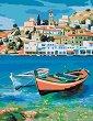 Рисуване по номера с акрилни бои - Лазурен Бряг - Комплект за картина с размери 35 x 45 cm -