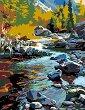 Рисуване по номера с акрилни бои - Планински поток - Комплект за картина с размери 35 x 45 cm -