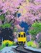 Рисуване по номера с акрилни бои - Трамвай - Комплект за картина с размери 35 x 45 cm -