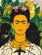 Рисуване по номера с акрилни бои - Автопортрет с трънена огърлица и колибри: Фрида Кало - Комплект за картина с размери 35 x 45 cm -