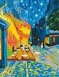 Рисуване по номера с акрилни бои - Кафе тераса през нощта: Ван Гог - Комплект за картина с размери 35 x 45 cm -