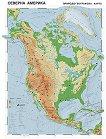 Северна Америка - природогеографска карта - Стенна карта - М 1:7 000 000 -
