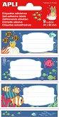 Етикети за тетрадки - Океан - 9 броя -