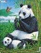 Панда с малкото си - Пъзел в картонена подложка -