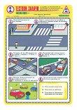 Тестови задачи по безопасност на движението по пътищата: Тестова карта за 1. клас - 2. срок - Комплект от 10 броя - помагало