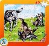 Колекция диви животни: Вълк - Пъзел в картонена подложка - Златното пате -
