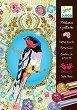 Оцветявай с брокат - Птици - Творчески комплект за рисуване -