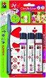 Контур за свещи - Сърца - Комплект от 3 цвята с шпакла и шаблон