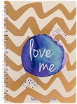 Ученическа тетрадка със спирала и твърда корица - Love : Формат А5 с широки редове -