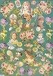 Декупажна хартия - Цветя и деца на зелен фон 031 - Дизайн на Anne Zada -