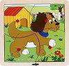 Дървен пъзел в рамка - Куче -